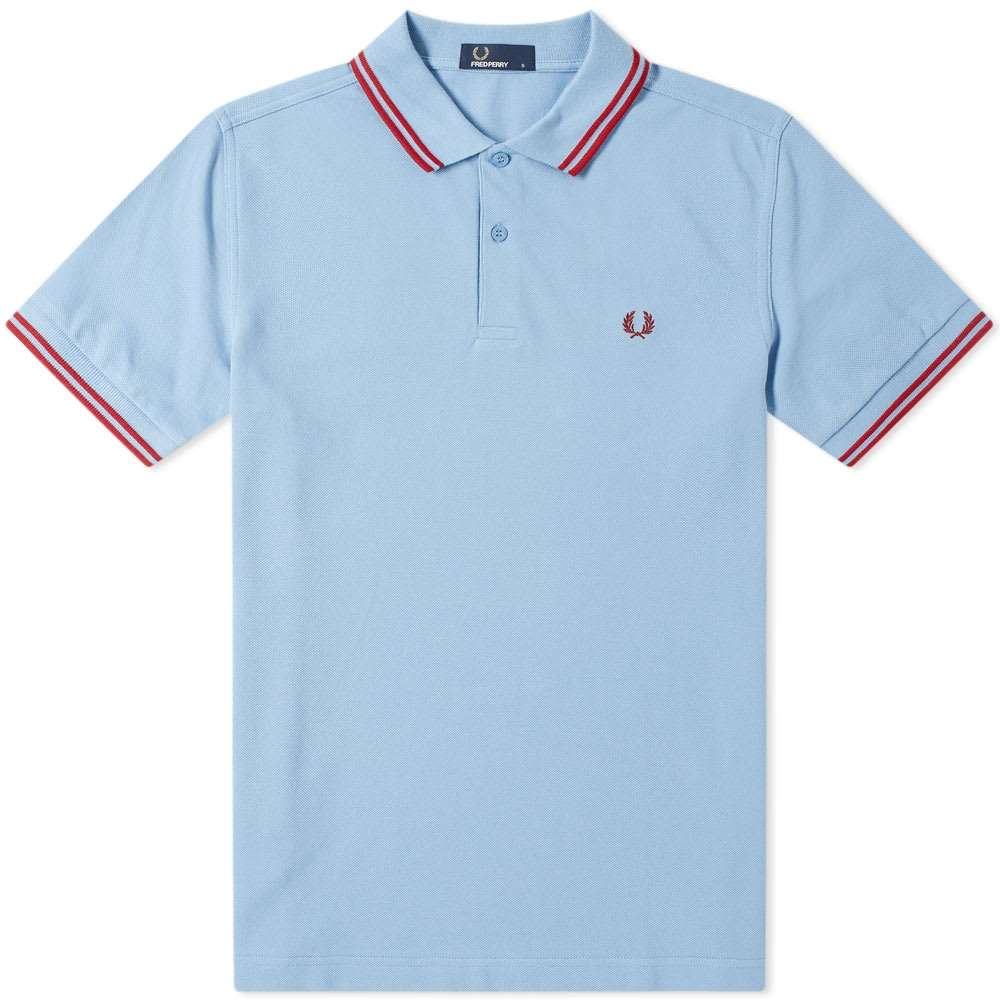 a5088a45 Fred Perry Slim Fit Twin Tipped Polo Sky & Rich Fishnet | eBay