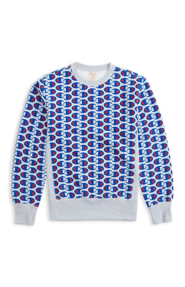 8c9d34c03 Details about Champion Reverse Weave Allover C Logo Print Sweatshirt Grey  Marl
