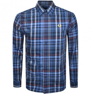 Fred Perry Check Shirt Midnight Blue