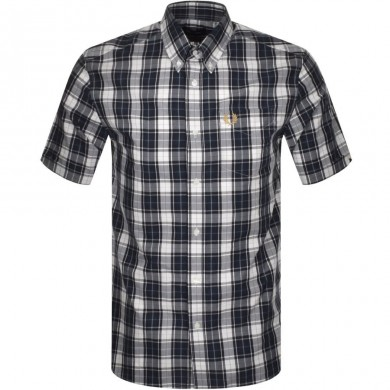 Fred Perry Authentic Button Down Short Sleeve Check Shirt Dark Airforce
