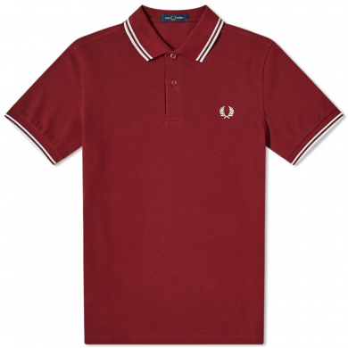 Fred Perry Slim Fit Twin Tipped Polo Port & White