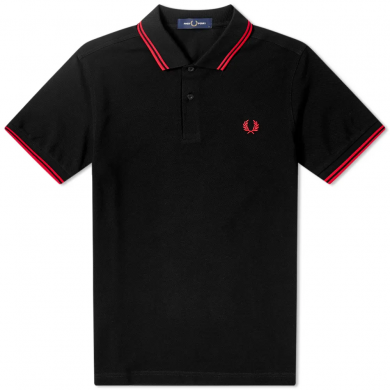 Fred Perry Slim Fit Twin Tipped Polo Black & Red
