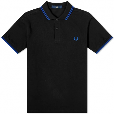 Fred Perry Slim Fit Twin Tipped Polo Black & Cobalt