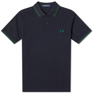 Fred Perry Slim Fit Twin Tipped Polo Navy & Ivy