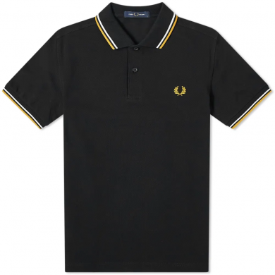 Fred Perry Slim Fit Twin Tipped Polo Black, White & Gold