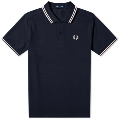 Fred Perry Slim Fit Twin Tipped Polo Navy, White & Silver
