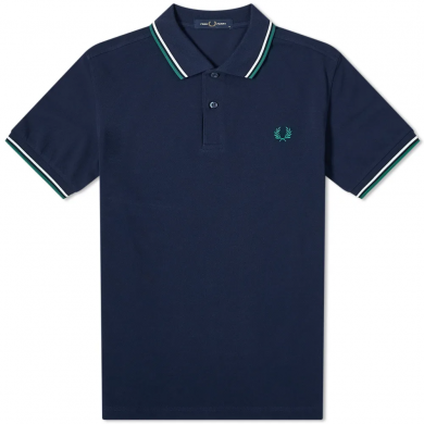 Fred Perry Slim Fit Twin Tipped Polo Blue, White & Green