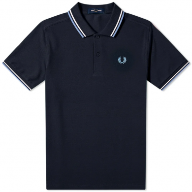 Fred Perry Slim Fit Twin Tipped Polo Navy & Riviera