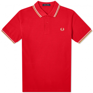 Fred Perry Slim Fit Twin Tipped Polo Red, White & Chrome