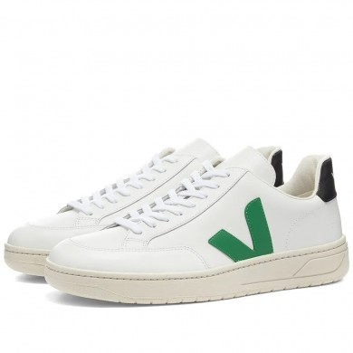 Veja V-12 Leather Sneaker White, Emeraude & Black