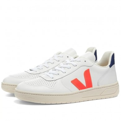 Veja V-10 Leather Basketball Sneaker White & Fluo Orange