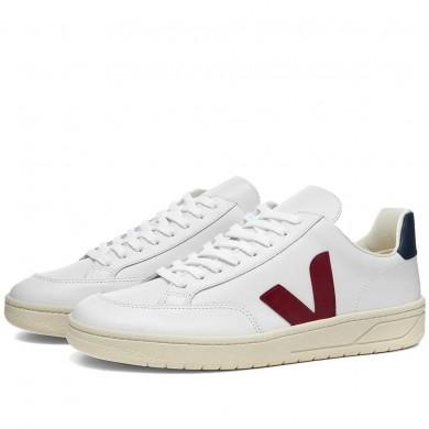 Veja V-12 Leather Sneaker White, Burgundy & Navy