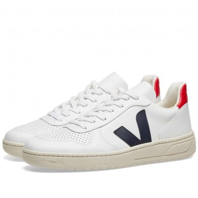 Veja V-10 Leather Basketball Sneaker White, Red & Navy