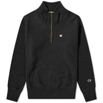 Champion Reverse Weave Quarter Zip Small Logo Sweat Black