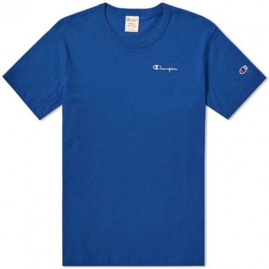 Champion Reverse Weave Small Script Logo Tee Royal Blue
