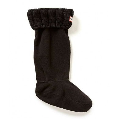 Hunter Original 6 Stitch Cable Knitted Cuff Tall Boots Socks Black