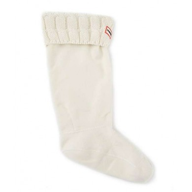 Hunter Original 6 Stitch Cable Knitted Cuff Tall Boots Socks Natural White