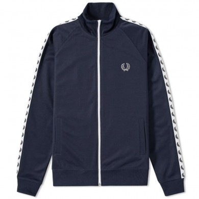 Fred Perry Sports Authentic Laurel Taped Track Jacket Navy