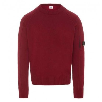 C.P. Company Arm Lens Lambswool Crew Knit Beet Red