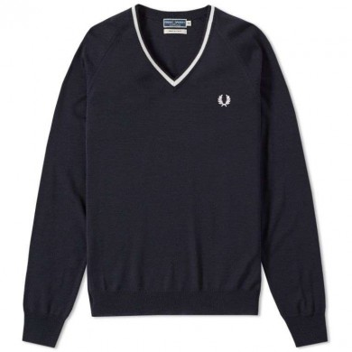 Fred Perry Reissues Merino Tipped V-Neck Jumper Navy