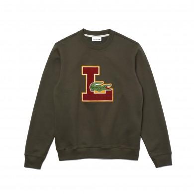 Lacoste Crew Neck Badge Fleece Sweatshirt Khaki Green
