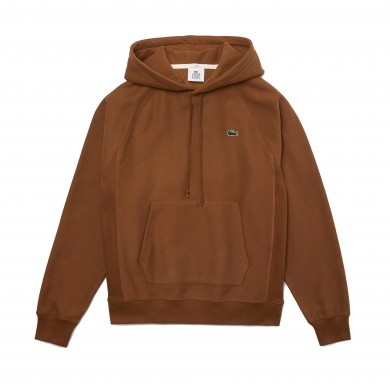 Lacoste Live Hooded Kangaroo Pocketed Sweatshirt Brown