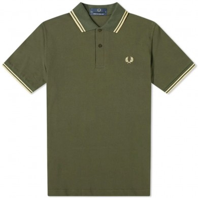 Fred Perry Reissues Original Twin Tipped Polo Hunting Green & Champagne