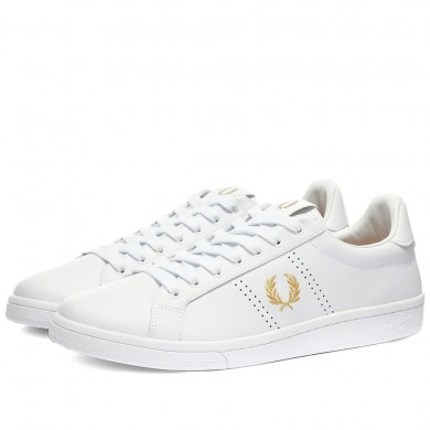 Fred Perry Authentic B721 Leather Sneaker White & Gold