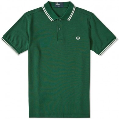 Fred Perry Slim Fit Twin Tipped Polo Ivy & Ecru