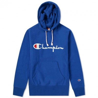 Champion Reverse Weave Script Logo Hoody Royal Blue