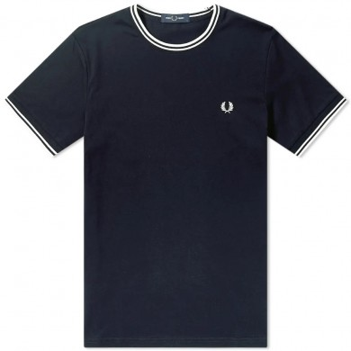 Fred Perry Twin Tipped Tee Navy