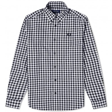 Fred Perry Authentic Button Down Gingham Shirt Carbon Blue