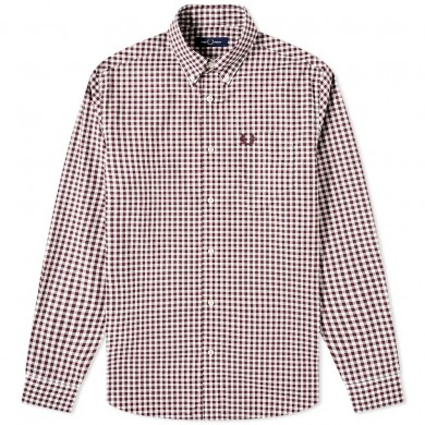 Fred Perry Authentic Button Down Gingham Shirt Mahogany