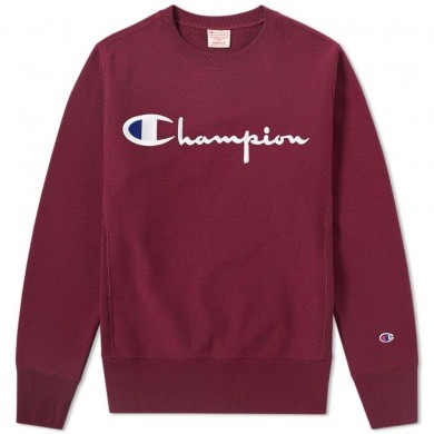 Champion Reverse Weave Script Logo Crew Sweat Burgundy