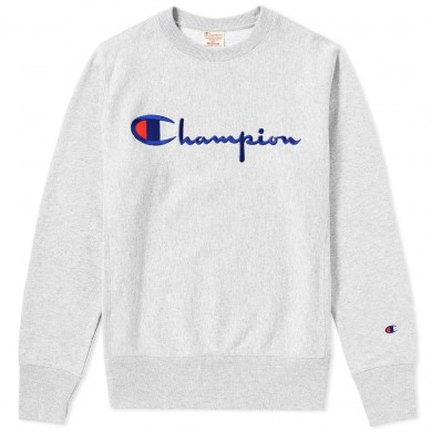 Champion Reverse Weave Script Logo Crew Sweat Grey Marl