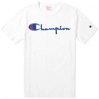 Champion Reverse Weave Script Logo Tee White