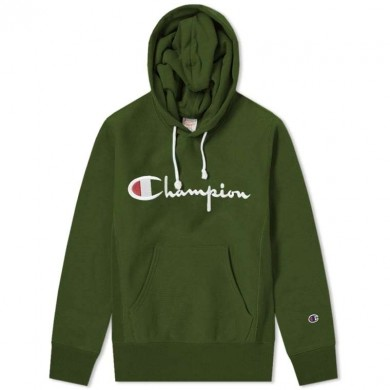 Champion Reverse Weave Script Logo Hoody Bottle Green