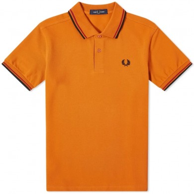 Fred Perry Slim Fit Twin Tipped Polo Rust