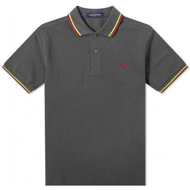 Fred Perry Slim Fit Twin Tipped Polo Gunmetal