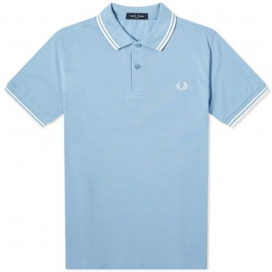 Fred Perry Slim Fit Twin Tipped Polo Sky & Snow White