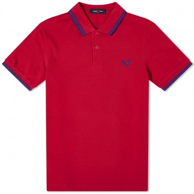 Fred Perry Slim Fit Twin Tipped Polo Red & Blue