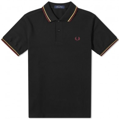 Fred Perry Slim Fit Twin Tipped Polo Black, Gold & Aubergine