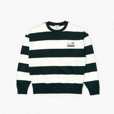 Lacoste Live Embroidered Striped Fleece Sweatshirt White & Green