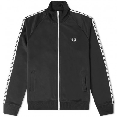Fred Perry Authentic Taped Track Jacket Black