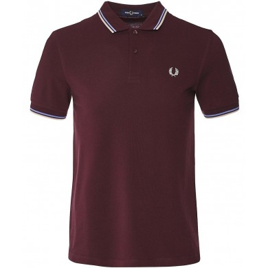 Fred Perry Slim Fit Twin Tipped Polo Mahogany, White & Ice