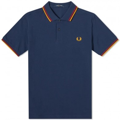Fred Perry Slim Fit Twin Tipped Polo Deep Blue, Red & Amber