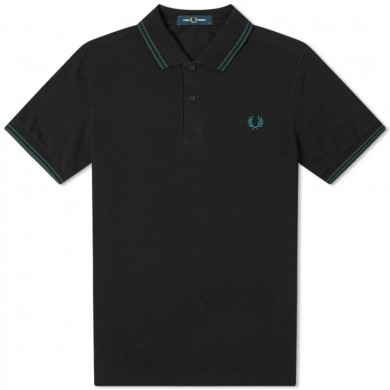 Fred Perry Slim Fit Twin Tipped Polo Black & Petrol