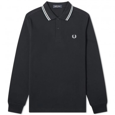 Fred Perry Authentic Long Sleeved Twin Tipped Polo Navy