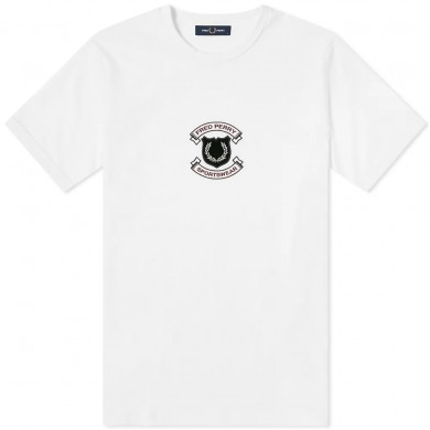 Fred Perry Authentic Embroidered Shield Tee Snow White
