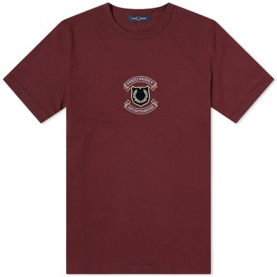 Fred Perry Authentic Embroidered Shield Tee Mahogany